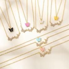 Vg 6ym nova moda colorida resina borboleta pendente colar multi-camada borboleta colar para festa feminina jóias atacado