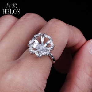 Image 5 - HELON 10X12mm óvalo sólido 14K oro blanco AU585 0.3ct diamante Natural mujeres boda joyería fina única Semi montaje anillo
