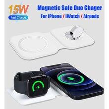 צ י 15W אלחוטי מהיר טעינת 2in1 מגנטי בטוח DUO מטען עבור iPhone 12 פרו מקס Dock עבור אפל שעון airpod עבור iPhone 11
