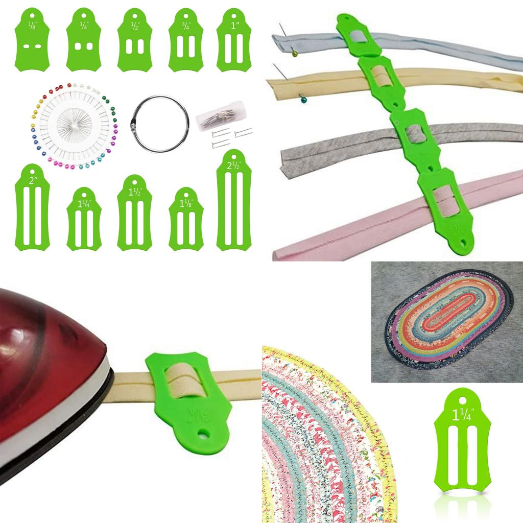 Come with 40 pcs Multi-Color Quilting Pins,5 Crimping Tubes and Storage Chain Multi-Sizes Sasher for Folding Fabric and Biasing Strips Nicedea Jelly Roll Sasher Tool Set