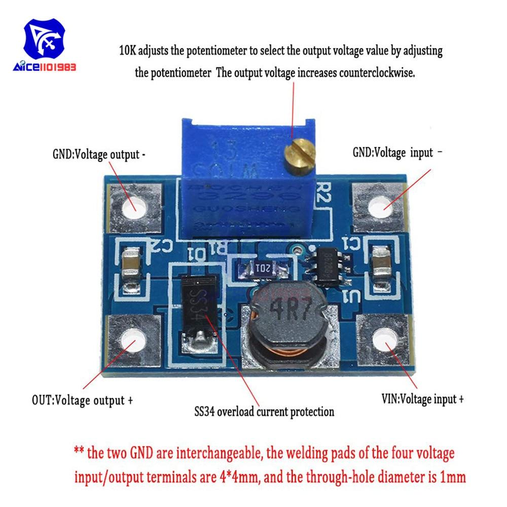 5 teile/los SX1308 DC-DC 2-24V zu 2-28V Max 2A Step Up Boost Converter Modul einstellbare Trimmer Potentiometer für Arduino