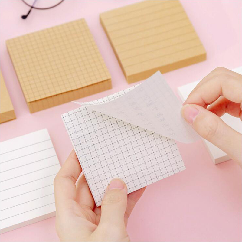Simple Memo Pads Blank Horizontal Grid Sticker School Supplies Post Scrapbook Planner Sticky Notes Office Stationery
