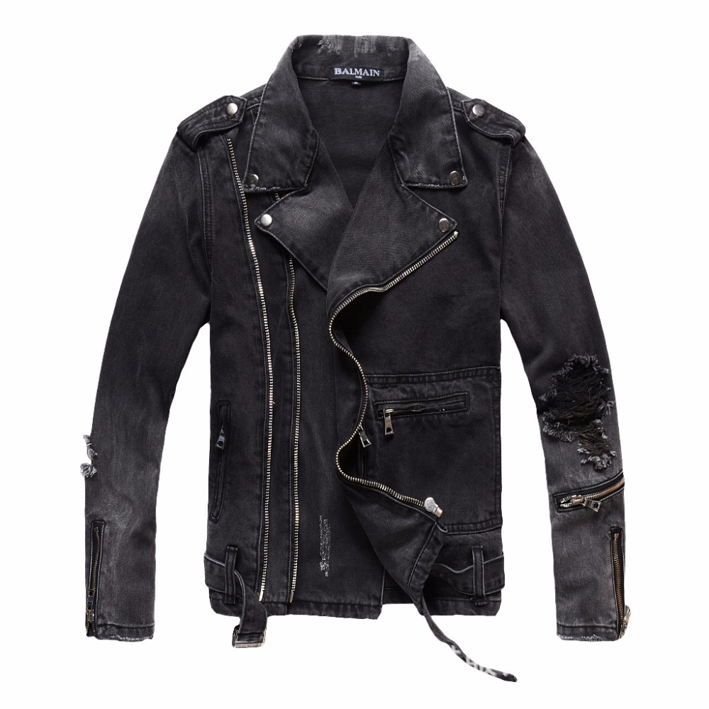 He6d34e3624254bdeb735056479646261v Uplzcoo New Fashion Biker Denim Jackets Men Black Hole Zippers Denim Coat Jackets Casual Men Clothing Casaco Masculino EM157