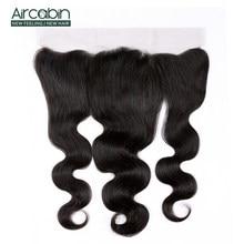 Brazylijski włosy typu body wave 13*4 koronka Frontal zamknięcie z Baby włosy 100% ludzkie włosy nie Remy zamknięcie koronki Aircabin do włosów