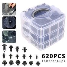 620 Pcs Fastener Clips Mixed Car Fasteners Door Trim Panel Auto Bumper Rivet Retainer Push Engine Cover Fender with Box