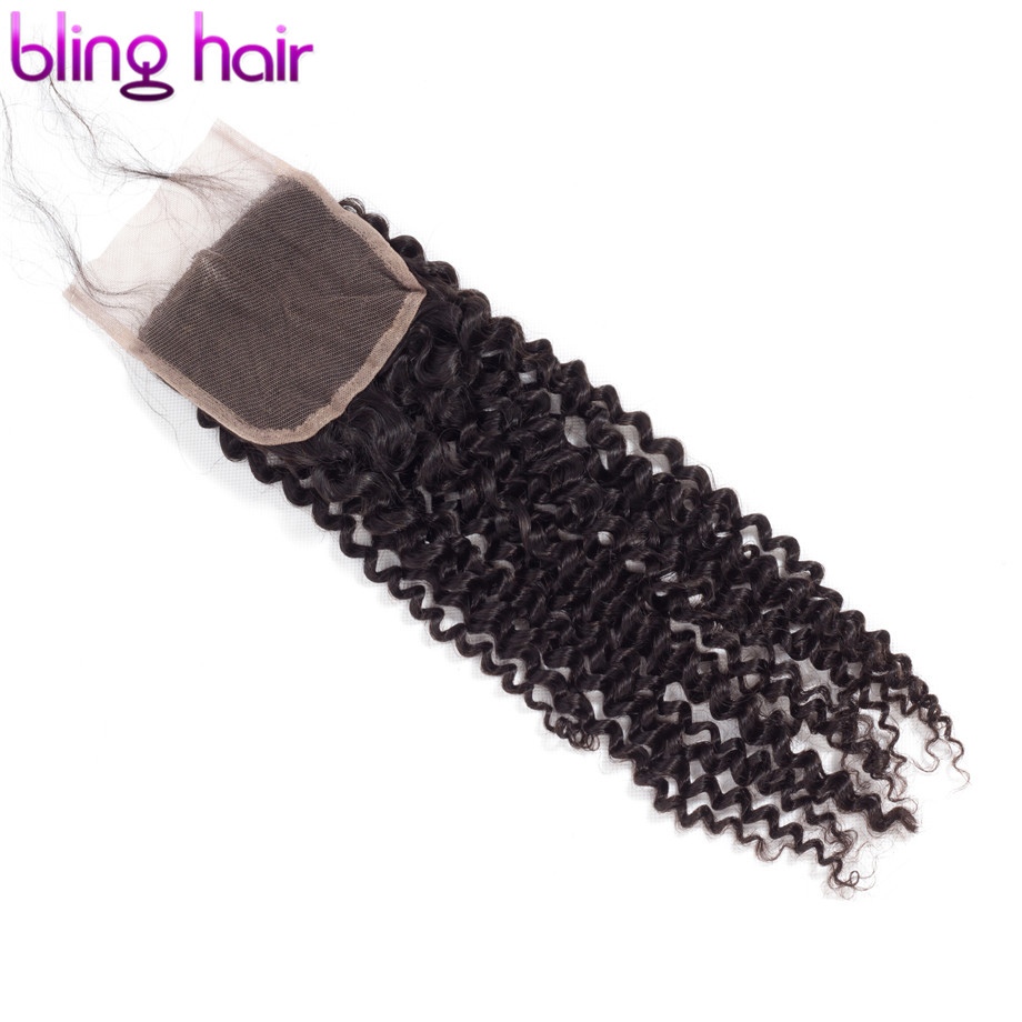 Bling Hair Kinky Curly 4x4 Lace Closure With Baby Hair Brazilian Remy Human Hair Closure Free/Middle Part Natural Color 8-22inch