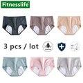 3 unidades/pacote lote período calcinha à prova de vazamento de algodão menstrual para adolescente feminino higiene roupa interior macio calças briefs l xl xxl