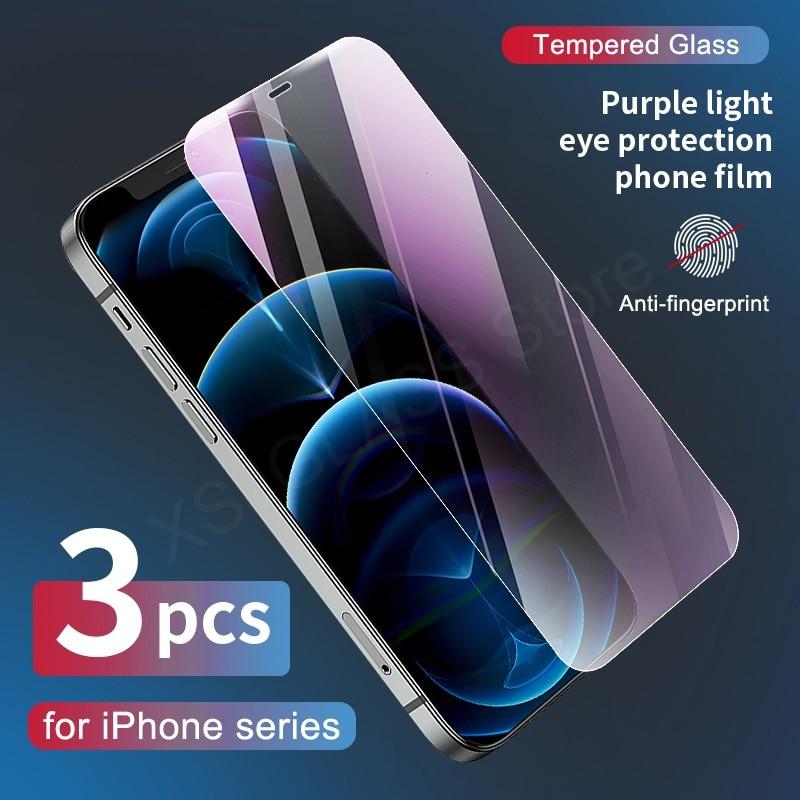 3 pçs anti luz de raio azul 9h vidro temperado para iphone 11 12 pro max 6 s 7 8 plus x xr x s max protetor de tela olhos cuidado vidro