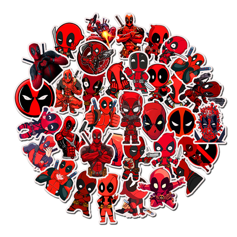 35pcs Marvel Skateboard Stickers The Avengers Deadpool  Man Cartoon Sticker Luggage Laptop Decal Moto Bicycle Sticker Toys