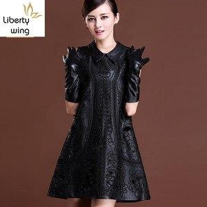 Женское платье без рукавов, черные вечерние платья из натуральной овечьей кожи в стиле Лолиты с цветочной вышивкой, зима 2019