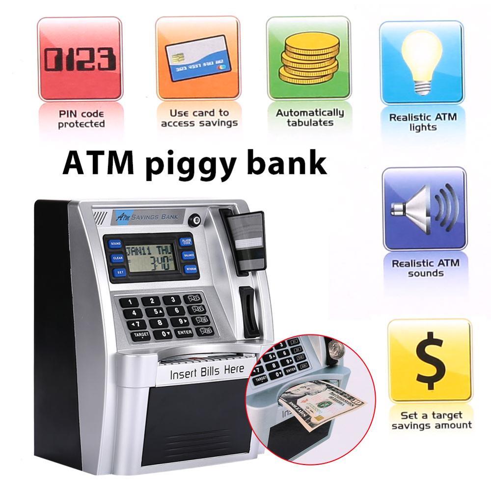Интеллектуальное моделирование банкоматов США, банкомат, копилка, банкомат, сейф для денег, коробки с ЖК-экраном, серебристый подарок для