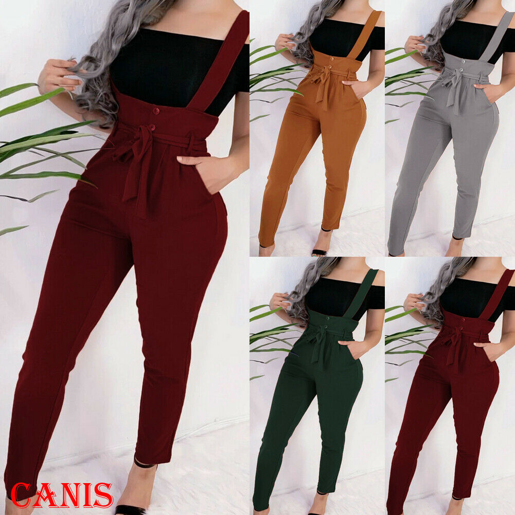 2019 New Women's High Waist Belt Overall Pants Pocket Jumpsuit Long Trousers Sling Pants