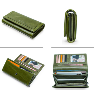 Image 4 - Contacts Fashion Women Wallets With Card Holder Genuine Leather Long Clutch Brand Design Female Coin Purses Cell Phone Pocket