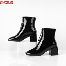 CDAXILAN new women's short boots genuine cow patent leather square high heels front zipper ankle boots ladies autumn winter цены онлайн