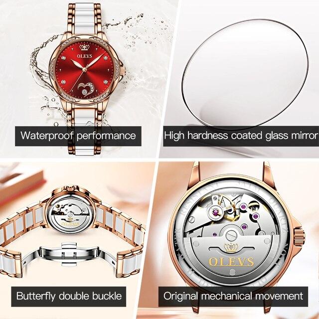 OLEVS Women's Automatic Watch Ceramic Steel Strap Waterproof Mechanical Watches Brand Luxury Ladies Wrist Watch Relogio Feminino 6