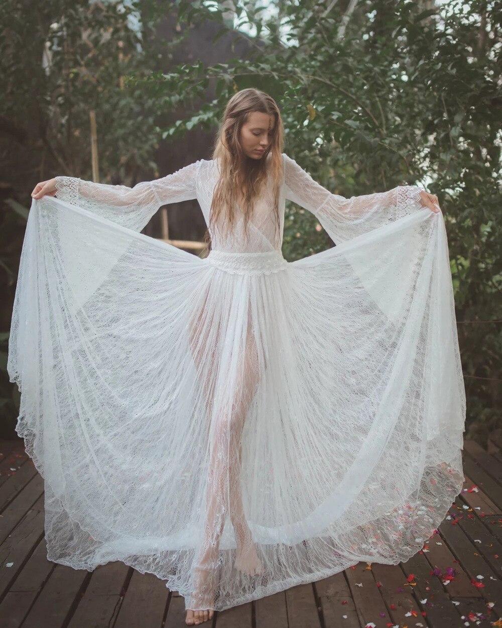 2020 весеннее женское средневековое платье для сна, сексуальное винтажное белое кружевное платье с v образным вырезом, макси, богемное нарядное платье, костюм        АлиЭкспресс