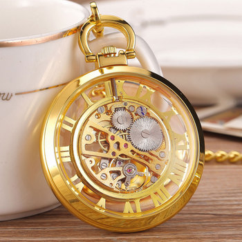 цены Steampunk Mechanical Pocket Fob Watch Pendent Chain Skeleton Transparent Hollow Metal Vintage Pocket Clock Men Relogio De Bolso