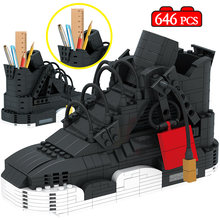 Novo mini bonito esporte basquete sapatos blocos de construção tênis modelo caneta recipiente tijolos lápis-caixa brinquedos para crianças papelaria
