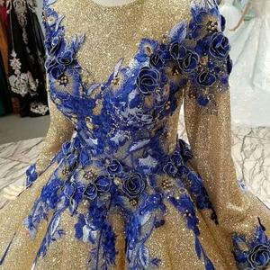 Image 5 - LS741100 shiny moslim vrouwen gelegenheid jurken 2018 lange mouw o nek blauwe bloemen golden baljurk avondjurk snelle bezorging