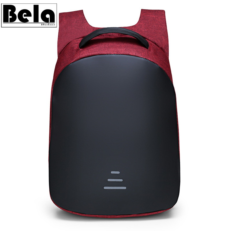 BelaBolso Panelled 15.6 Inch Laptop Backpack Man New Travel Bag USB Charging Backpack Male Multifunction Backpack Fashion HMB696