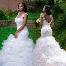 Кружевное свадебное платье русалка без рукавов с аппликацией