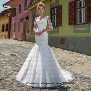 Image 1 - Vestido Novia ארוך רכבת הכלה שמלת כלה בוהמית שמלות עם שרוולים רומנטי תחרה בת ים חתונה שמלה 2020 Robe Mariage