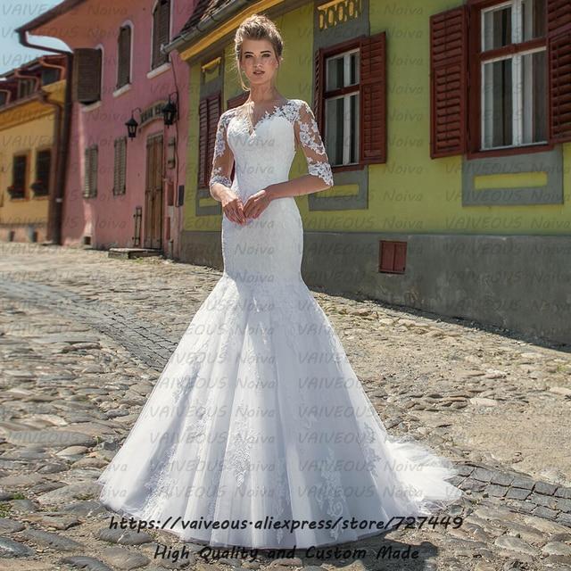 Vestido novia trem longo vestido de noiva boêmio vestidos de casamento com mangas romântico renda sereia vestido de casamento 2020 robe mariage
