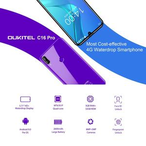 "Image 2 - Oukitel C16 Pro Android 9.0 Smartphone Face ID 5.71"" 19:9 Water drop Screen 3GB RAM 32GB ROM MT6761P Quad Core 4G Mobile Phone"