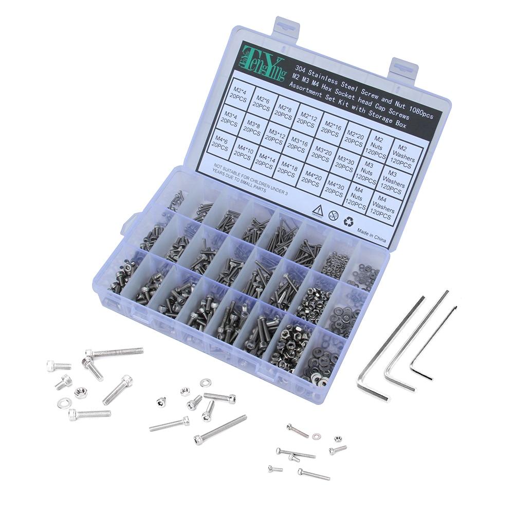 1080pcs/Set M2 M3 M4 Screws Nuts Kits Set Stainless Steel Hex Head Socket Screws and Nuts Assortment