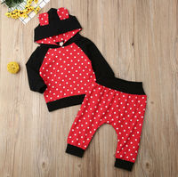 2PCS Newborn Baby Girl Boy Winter Clothes Dot Hooded Tops Long Pants Leggings Outfits Set