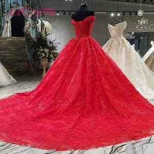 Image 2 - Vestido de boda AXJFU de lujo de princesa con cuentas de cristal y flores de encaje rojo, vestido de novia vintage con cuello de barco brillante con volantes 3392