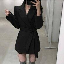 Женское черное шерстяное пальто Тонкий Блейзер с поясом куртка