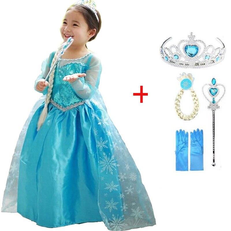 2019 New Elsa Dress Girls Summer Dress Princess Anna Cosplay