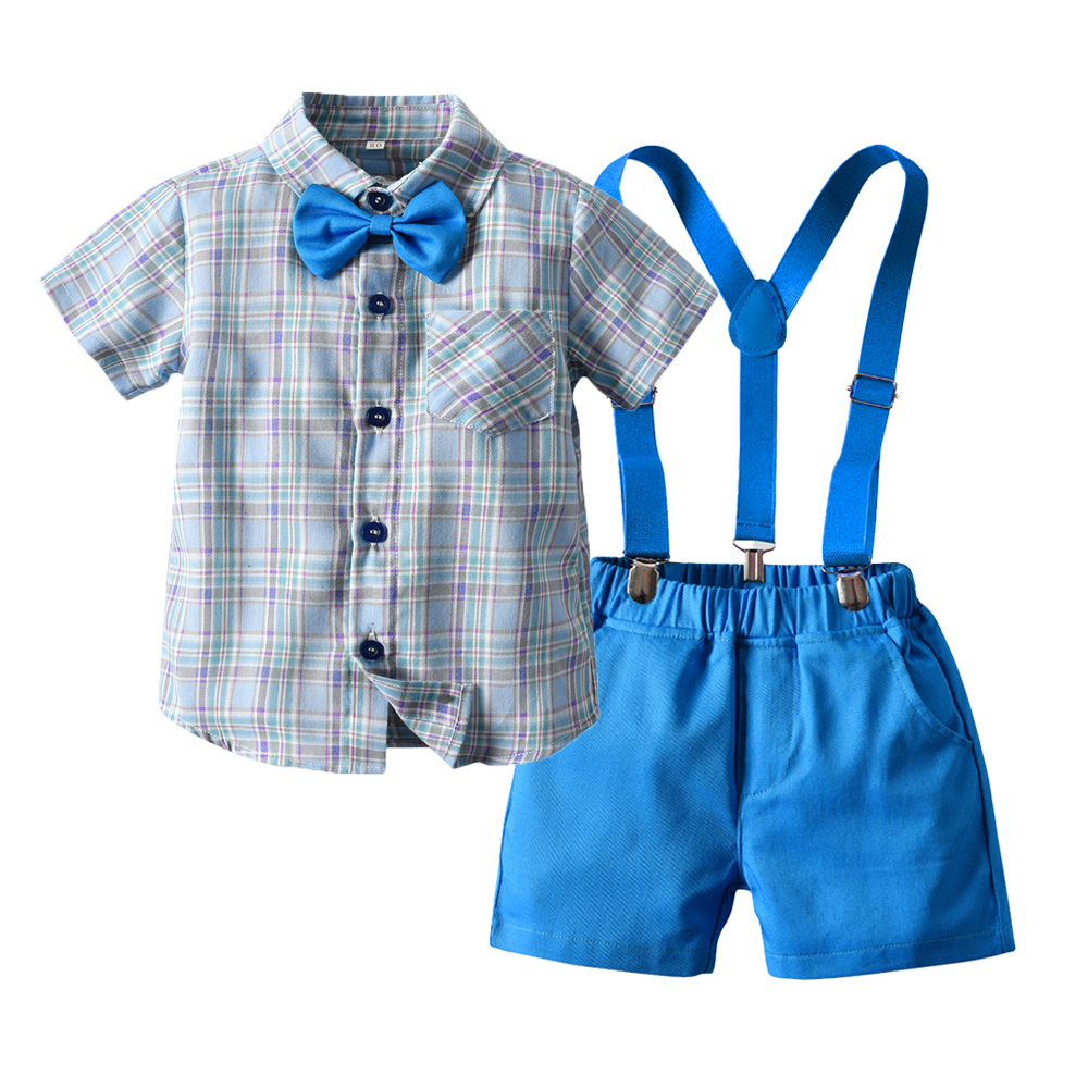 Top and Top Kids Clothing Set Boys Cotton Plaid Tops +Suspender Short Pant Clothes Suit Children Party Wear Costumes Bebes 1
