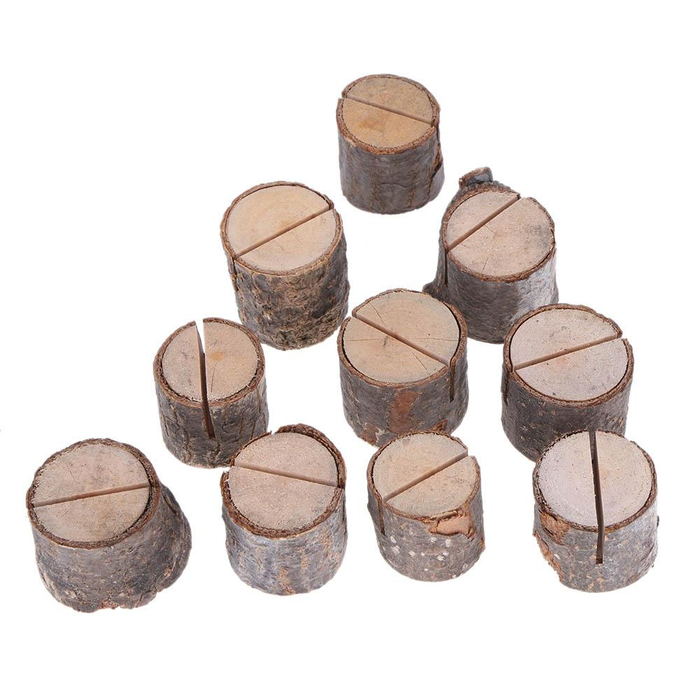 10Pcs Wood Pile Name Place Card Photo Menu Holder Table Natural Tree Stump Shape Number Clip Stand Party Wedding Decoration