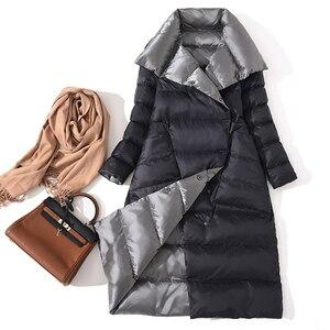 Image 3 - FTLZZ Ultra lekka biała kurtka puchowa damska zimowa dwustronna dopasowany długi płaszcz jednorzędowy ciepły parki śnieżna odzież wierzchnia