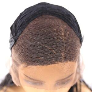 Image 5 - 13x4 Spitze Front Synthetische Geflochtene Perücken X TRESS Lange box cornrow Braid faux loks Perücke African American Frauen Frisur mittleren Teil