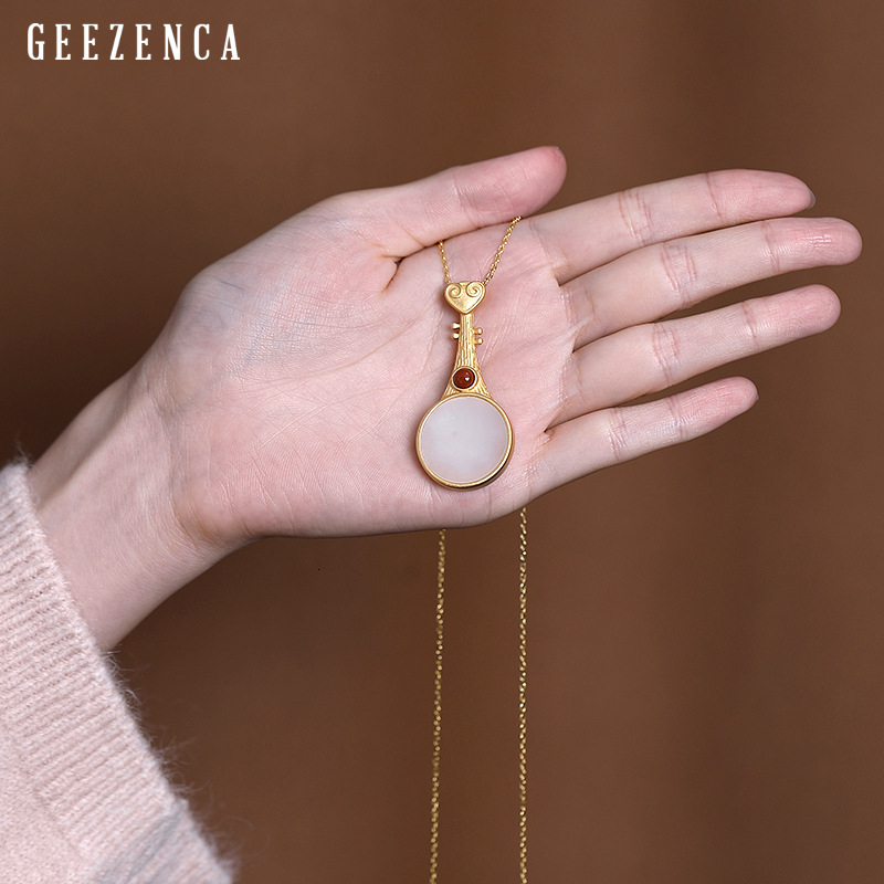 925 Sterling Silver Gold Plated Pipa Shaped Hetian Jade Pendant Necklace Original Design Oriental Necklaces Fine Jewelry Women