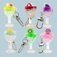 Cute Resin Goblet fruit ice cream Key Ring pendant Popular chain Summer hanging gift #LS1908073
