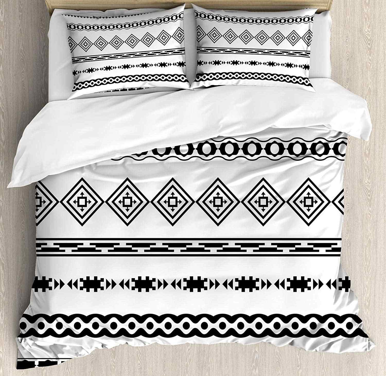 Tribal Bettbezug-set Ethnische Abstrakte Geometrische Formen Streifen mit Aztec Effekte Folkloristische Design Druck Dekorative 3 Stück Bett