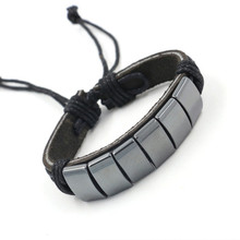 Hematite Bracelet Natural Stone Wrap Charm Dropshipping Single Leather Power Jewelry Adjustable