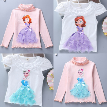 2020 Childen Princess T-Shirt for Girl Cotton Lace Tees Elsa T Shirt Autumn 3D Diamond Appliques Kid Birthday Party Top Clothing 1