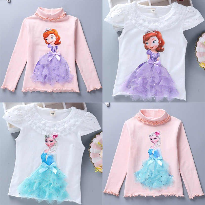 2020 Childen Princess T-Shirt for Girl Cotton Lace Tees Elsa T Shirt Autumn 3D Diamond Appliques Kid Birthday Party Top Clothing