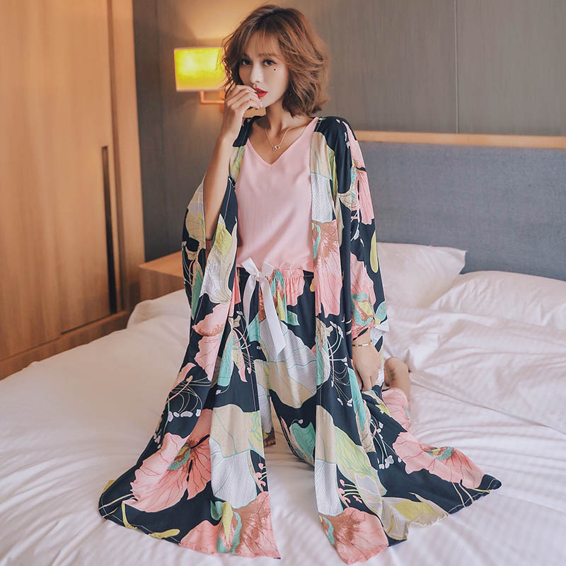 Autumn New Ladies Pajamas Set Floral Printed Comfort 4Pcs Set Soft Cotton Satin Sleepwear Women Comfort Homewear Casual Wear