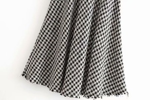 Image 5 - 2019 New High Waist Soft Woolen Check Gingham Plaid Skirts Vintage Woman Front Single breasted Button A line Swing Midi Skirts