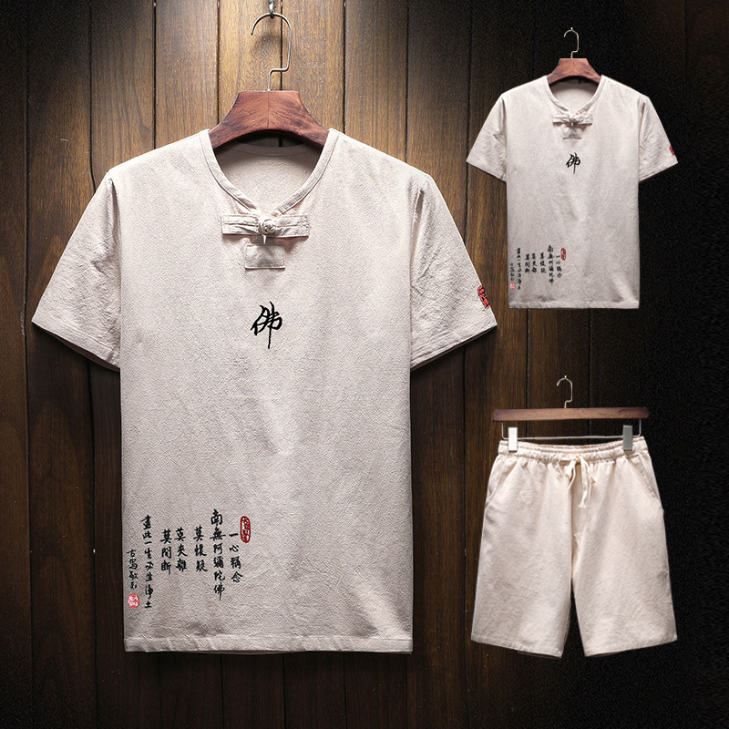 19 Years New Products Summer Wear Flax Short Sleeve T-shirt Shorts Set Chinese-style Men Cotton Linen Casual Buddha Embroidery S