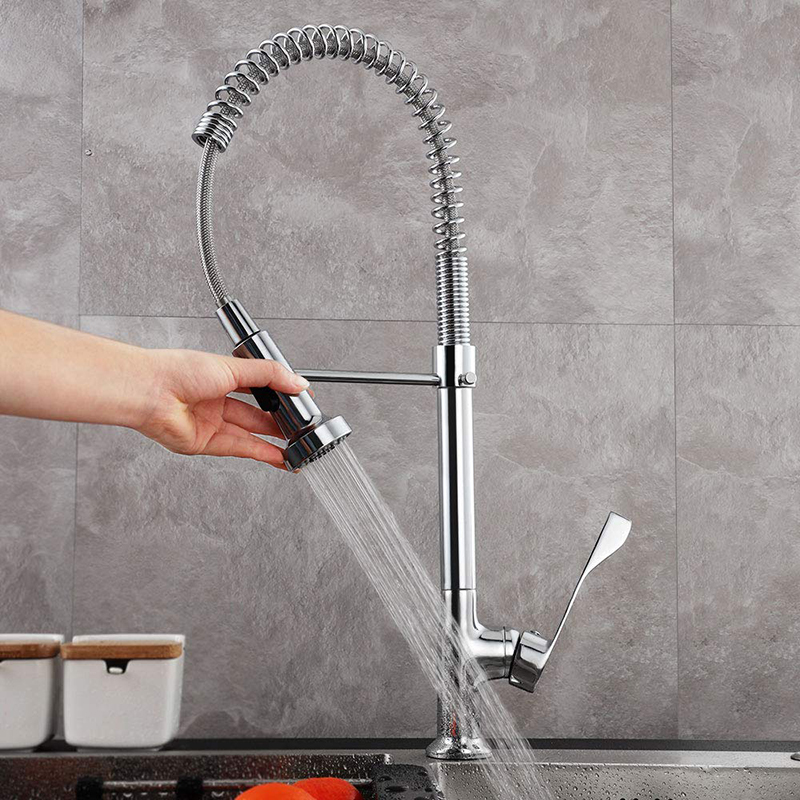 Gavaer Kitchen Faucet Pull-Down Water-Mixer Shower Swivel Single-Handle Cold Dual-Mode