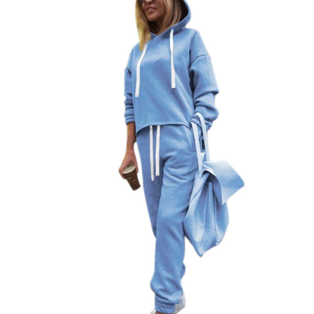LASPERAL Herbst Frühling Trainingsanzug Langarm Verdicken Mit Kapuze Sweatshirts 2 Stück Set Casual Sport Anzug 2020 Frauen Trainingsanzug Sets