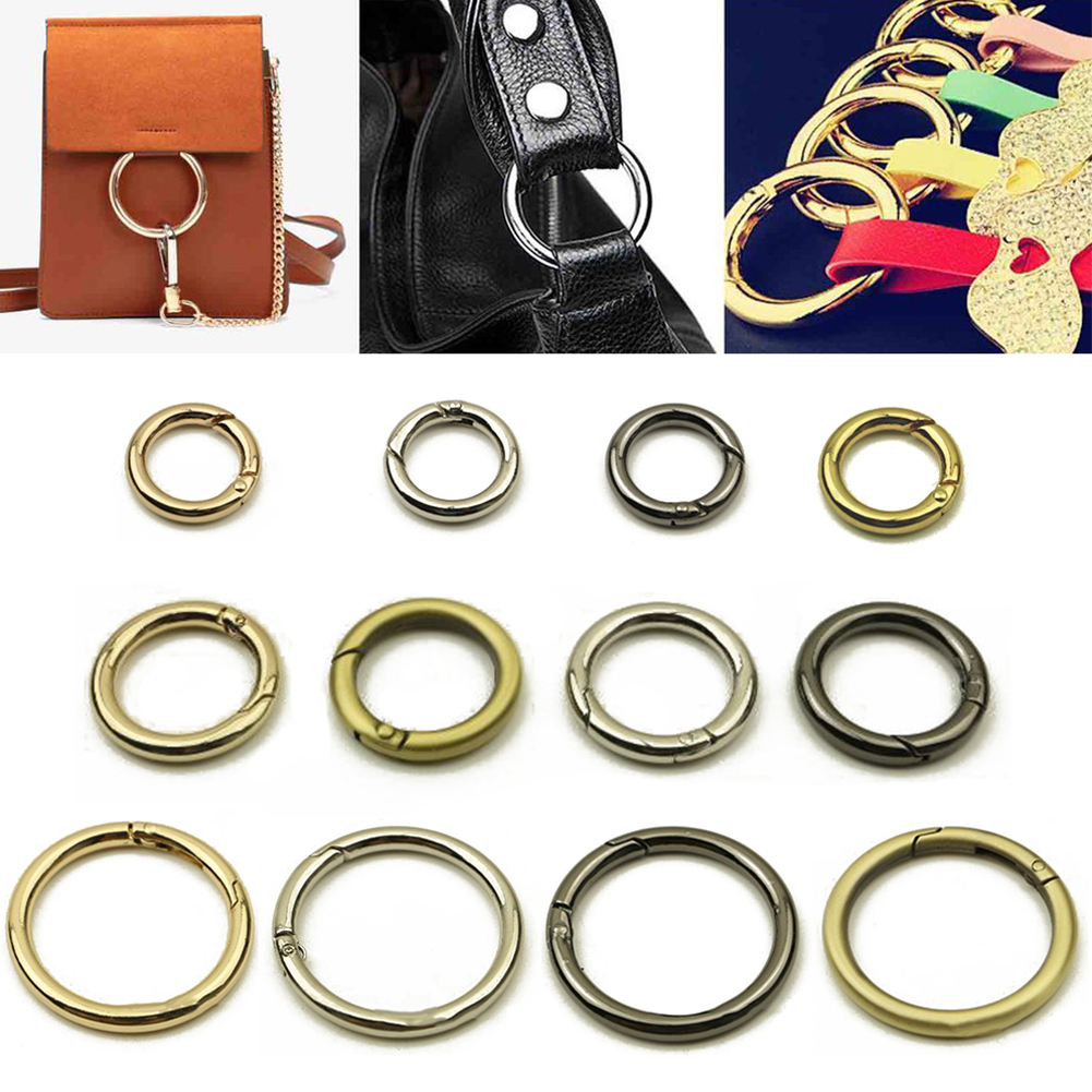 Metal Spring Gate O Ring Openable Keyring Leather Bag Belt Strap Buckle Clasp For Bag Clip Trigger For Leather Luggage Bag