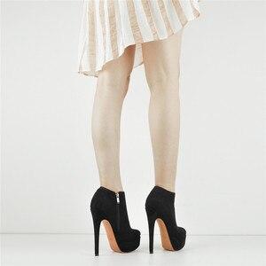 Image 4 - Onlymaker נשים של פלטפורמה סקסי עקב גבוה נעלי קרסול רוכסן צד פגיון פלוק מגפי Blus גודל US5 ~ US15